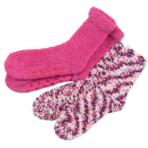 Popcorn & Chenille Luxury Socks, 2 pairs   Gripper Socks