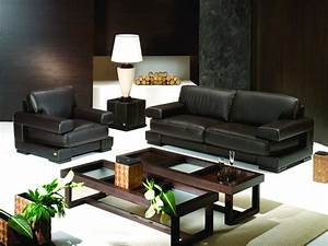 Attractive furniture living room interior decorating ideas for Decorate living room black leather furniture