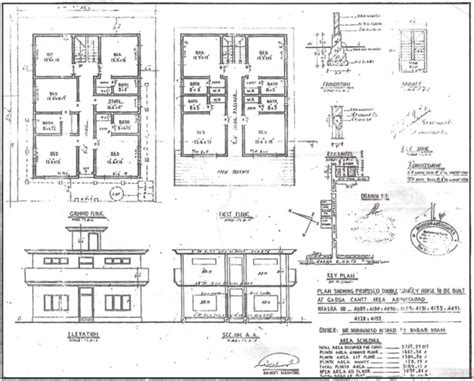 Residential Building Plan Section Elevation - House Floor