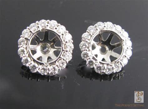 diamond stud halo earrings  perfect setting