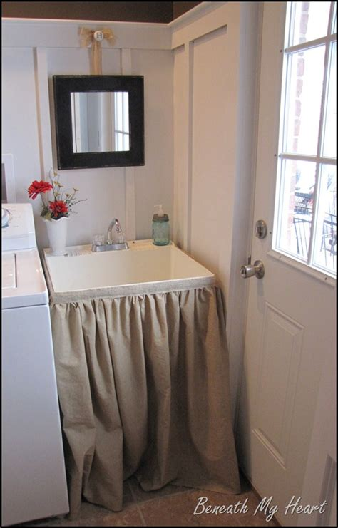 utility sink skirt pattern dressing up a mud room sink beneath my