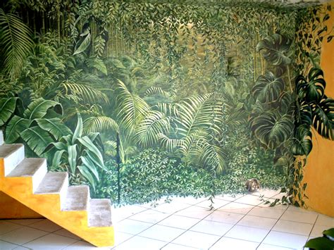 d 233 co int 233 rieur jungle fresque en trompe l oeil r 233 alis 233 e pour un salon fresques en trompe