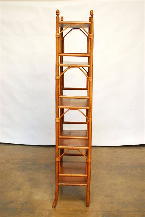 Bamboo Etagere Furniture by Faux Bamboo Rattan Etageres At 1stdibs