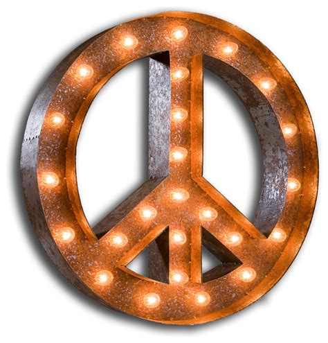 vintage marquee lights peace sign eclectic light bulbs