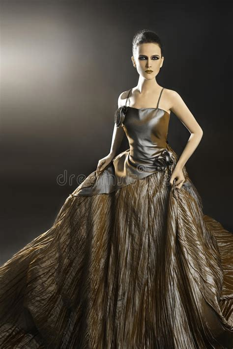 Beautiful Model And Dressed In Evening Dress Stock Image Image 34805159
