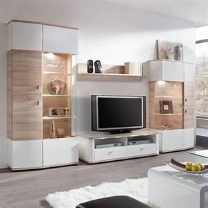 Fredriks Möbel Hersteller : wohnwand carrick 4 teilig hochglanz wei eiche s gerau ~ Watch28wear.com Haus und Dekorationen