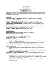 Undergraduate Internship Resume by College Student Resume For Internship Berathen