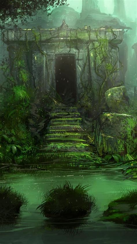 trees ruins jungle artwork vines stone buildings wallpaper