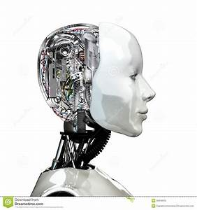 A Robot Woman Head With Internal Technology Stock Photo ...