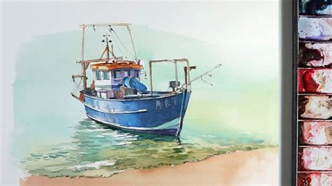 Watercolor Boat by Line And Wash Watercolor A Small Fishing Boat Near The