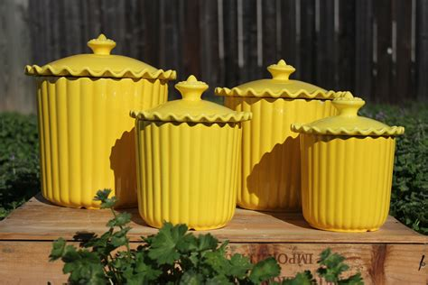 yellow kitchen canisters cheery yellow ceramic kitchen canisters set of 4