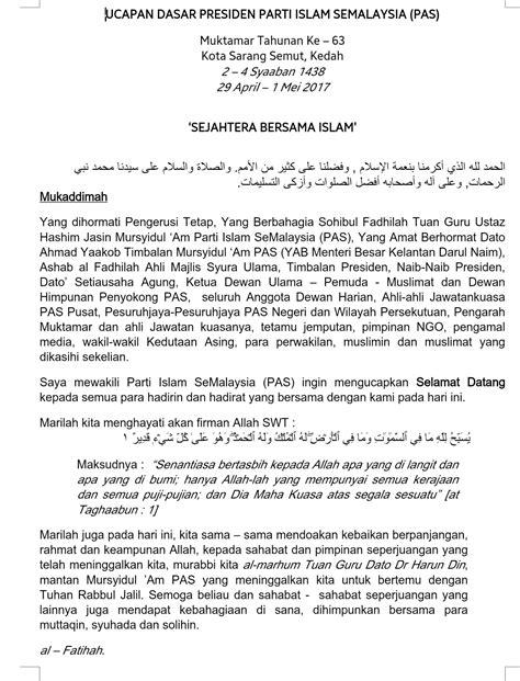 Teks Penuh Ucapan Dasar Presiden PAS, Muktamar Kali Ke-63