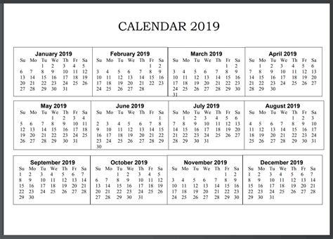 Printable Calendar 2019 United States