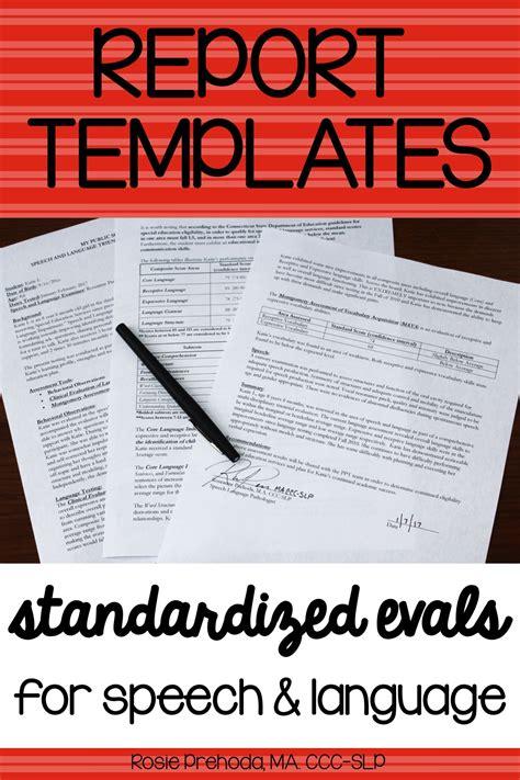 speech language standardized evaluation report template
