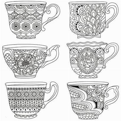 Coloring Tea Cup Printable Cups Adult Zentangle