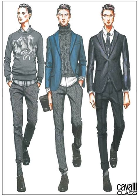 Drawn men fashion illustration - Pencil and in color drawn men fashion illustration