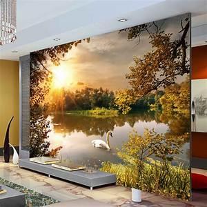 Trees Swan Lake Photo Wallpaper Sunshine Wallpaper Custom ...