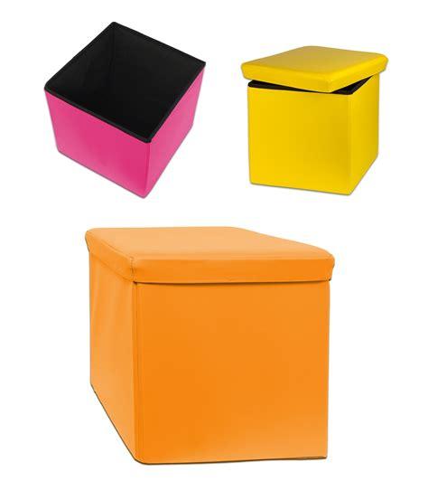 orange siege designer spizy rabattable ottoman rangement boite à jouet