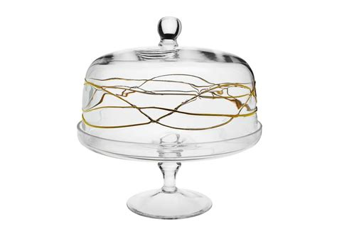4484 cake stand with dome glass cake dome w gold swirl timeless table