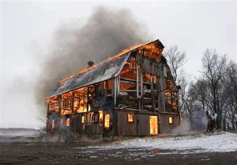 Burning Demolished Farm Buildings