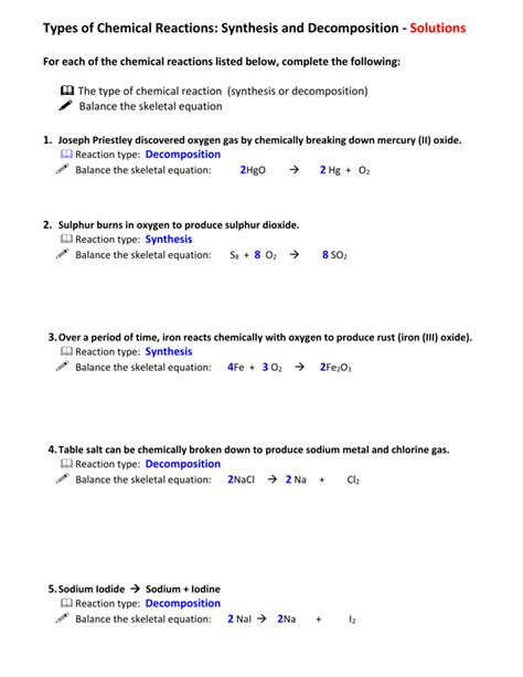 synthesis  decomposition worksheet answers