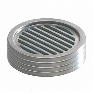 Interdesign linea coasters in brushed stainless steel set for Furniture coasters home depot