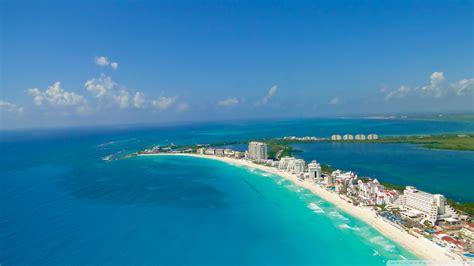 full hd wallpaper cancun aerial view seafront azure ocean
