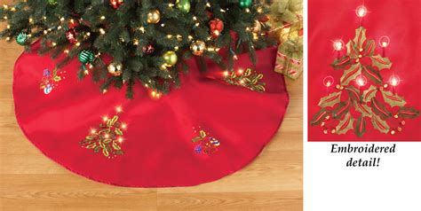 46 quot round embroidered led lighted tree skirt christmas