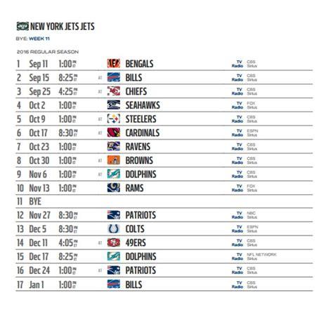2016 New York Jets NFL Schedule