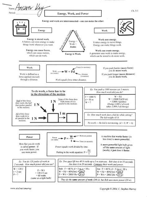 Energy Work Power Worksheet Answer Key