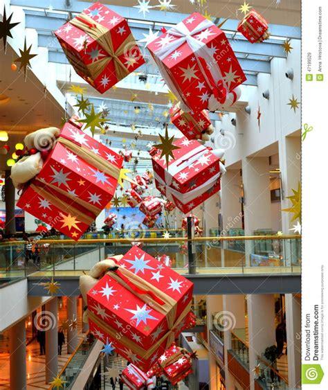 bright hanging christmas presents stock image image
