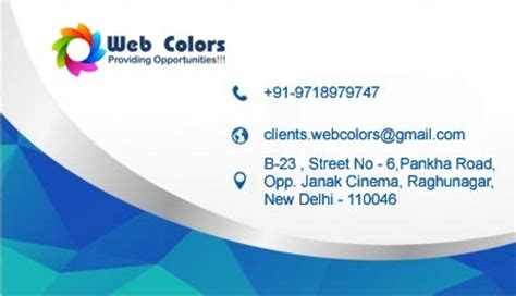 bussiness card designing web colors