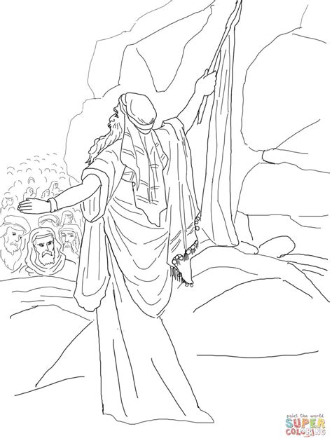 Kleurplaat Mozes Slaat Op Rots by Moses Strikes The Rock And Water Comes Out Coloring Page