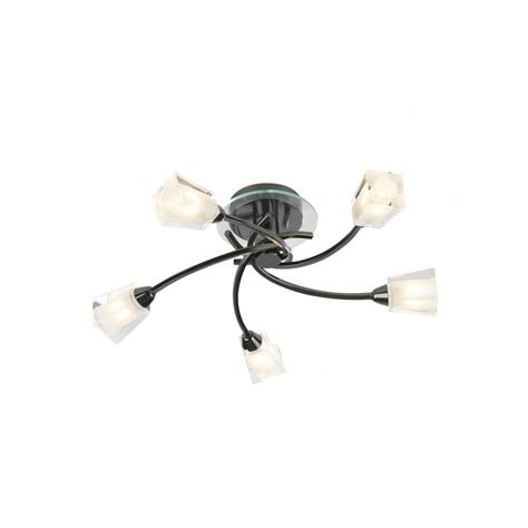 black chrome flush ceiling light with 5 bulbs for