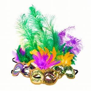 Metallic Mardi Gras Feather Mask