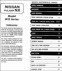 1983 Datsun Nissan Pulsar Nx Turbo Repair Shop Manual