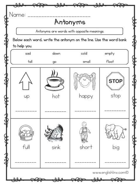 englishlinx com antonyms worksheets antonyms worksheets