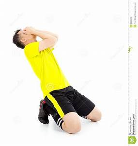 Upset Or Excited Soccer Player Kneeling Down Royalty Free ...