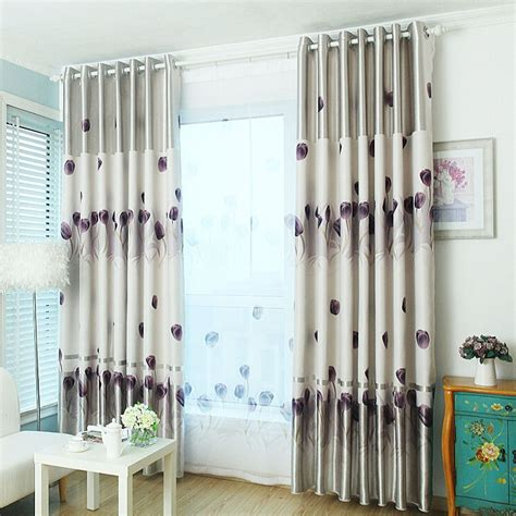 purple patterned curtains side printed floral pattern gray polyester purple