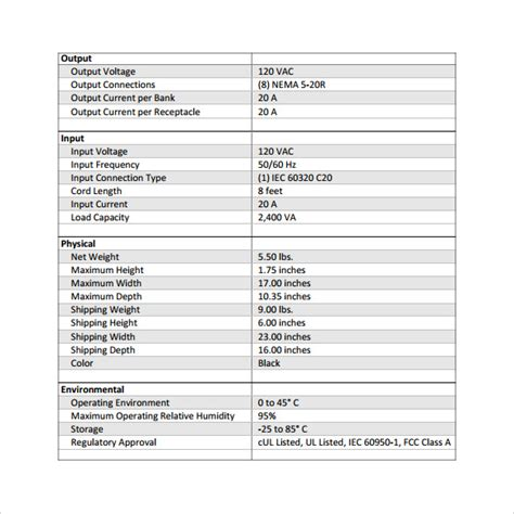 product spec sheet template 12 specification sheet sles sle templates