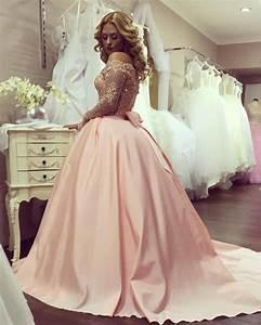blush pink wedding dresses gold lace long sleeves with bow With long sleeve pink wedding dresses