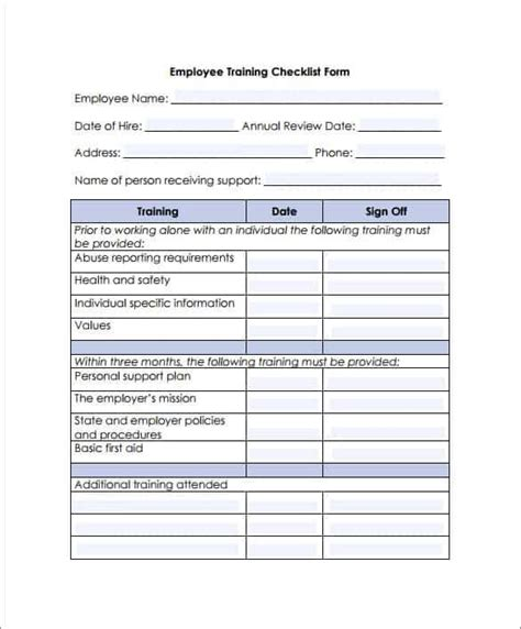 training checklist templates word excel fomats