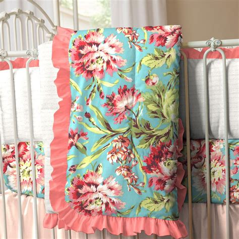 flower crib bedding coral and teal floral crib comforter carousel designs