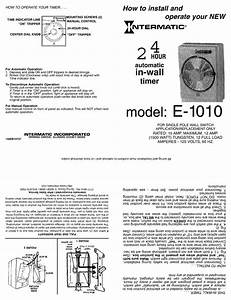 Intermatic E1010 Installation And Operating Pdf Download