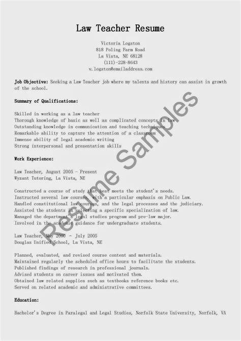 resume samples law teacher resume sample
