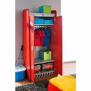 Armoire Enfant 2 Portes Coloris Rouge Disney Cars