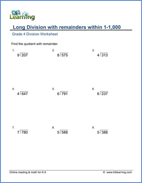 grade 4 math worksheet dividing 3 by 1 digit numbers with remainder k5 learning