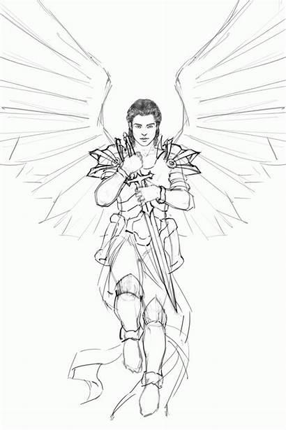 Angel Guardian Coloring Male Drawing Sword Sketch