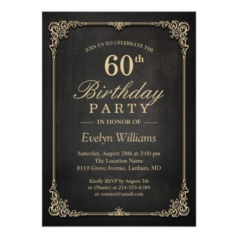 Elegant Black Gold Vintage Frame Birthday Party Invitation