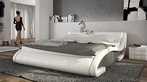 Lit 180x200 Design : lit design similicuir avec clairage led et haut parleurs futura mobilier moss ~ Teatrodelosmanantiales.com Idées de Décoration